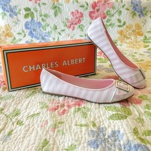 Charles Albert Pink and White Striped Ballet Flats